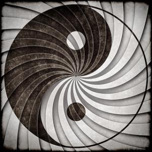 Símbolo yin yang colore fríos imagen