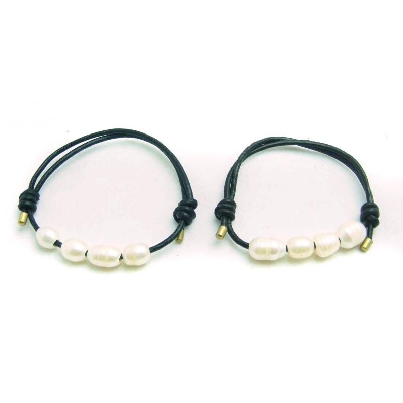 fddd1eb026fe Pulsera para ti cuero perlas cautivadas